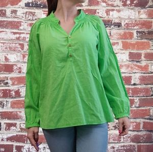 Lilly pulitzer lime green smock neck tunic top